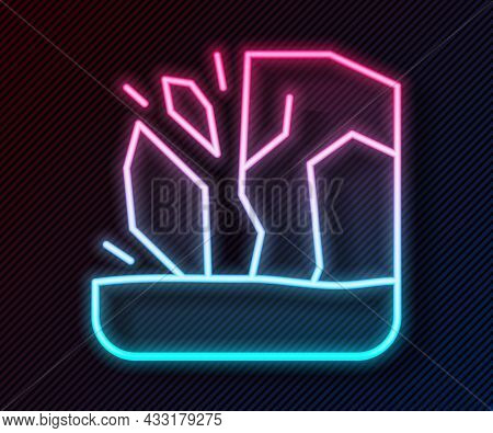 Glowing Neon Line Glacier Melting Icon Isolated On Black Background. Vector