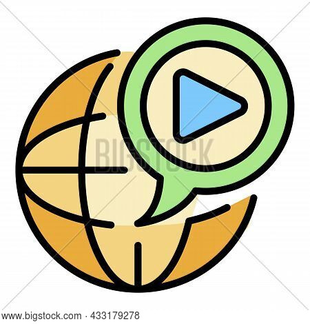 Global Video Blog Icon. Outline Global Video Blog Vector Icon Color Flat Isolated On White