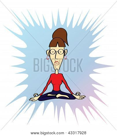 Funny yoga woman in meditative pose