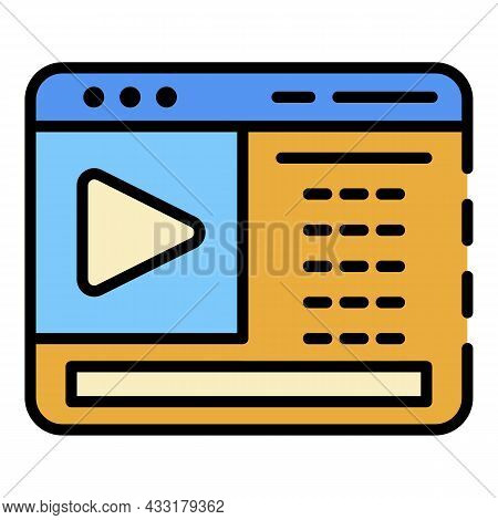 Web Video Blog Page Icon. Outline Web Video Blog Page Vector Icon Color Flat Isolated On White