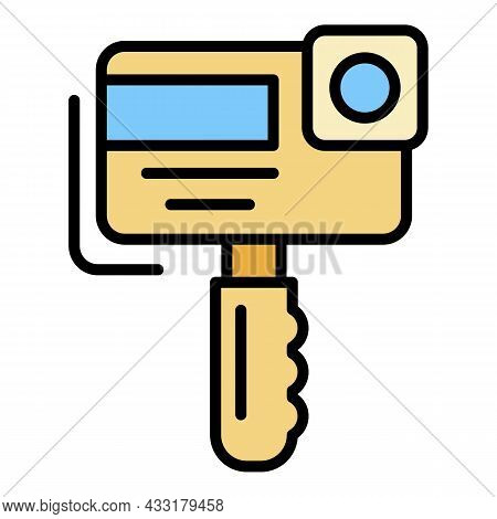 Action Camera Icon. Outline Action Camera Vector Icon Color Flat Isolated On White