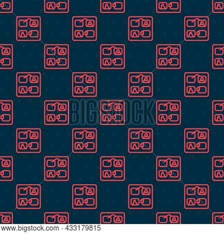 Red Line Storyboard Film Video Template For Movie Creation Icon Isolated Seamless Pattern On Black B