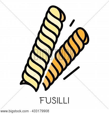 Fusilli Pasta Icon. Outline Fusilli Pasta Vector Icon Color Flat Isolated On White