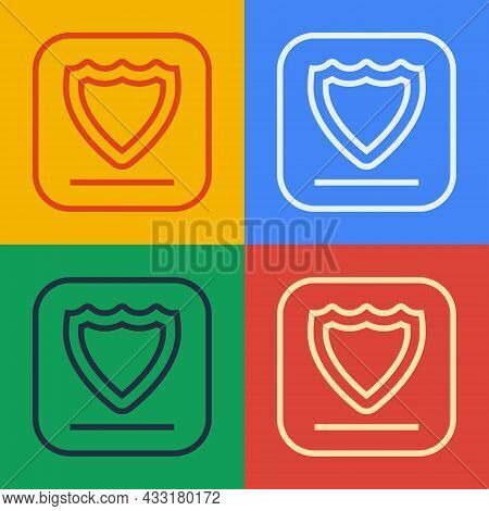 Pop Art Line Shield Icon Isolated On Color Background. Guard Sign. Security, Safety, Protection, Pri