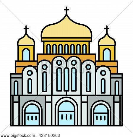 Cathedral Temple Icon. Outline Cathedral Temple Vector Icon Color Flat Isolated On White