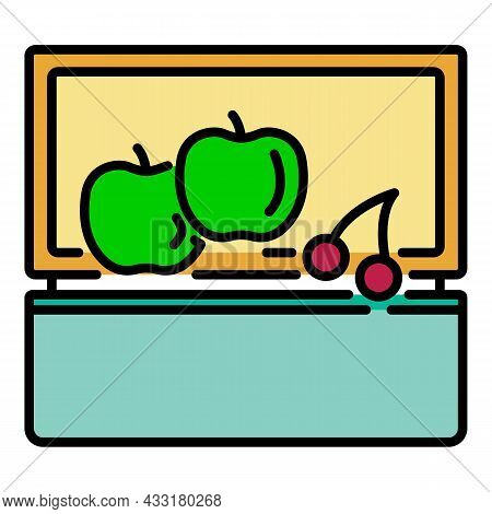 Fruit Lunchbox Icon. Outline Fruit Lunchbox Vector Icon Color Flat Isolated On White