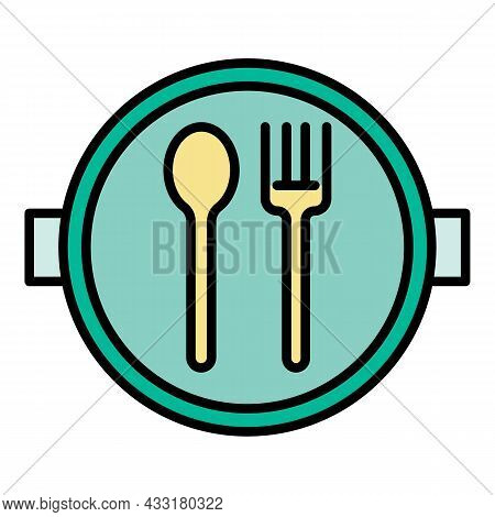 School Lunch Plate Icon. Outline School Lunch Plate Vector Icon Color Flat Isolated On White
