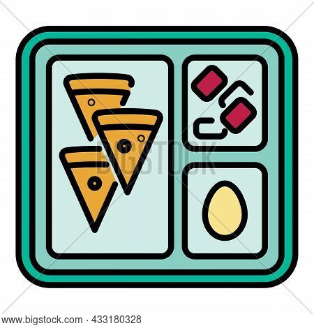 Lunch School Tray Icon. Outline Lunch School Tray Vector Icon Color Flat Isolated On White