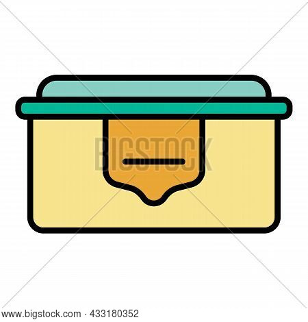Eco Plastic Lunchbox Icon. Outline Eco Plastic Lunchbox Vector Icon Color Flat Isolated On White