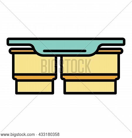 Double Lunchbox Icon. Outline Double Lunchbox Vector Icon Color Flat Isolated On White