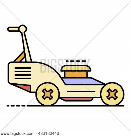 Petrol Lawn Mower Icon. Outline Petrol Lawn Mower Vector Icon Color Flat Isolated On White