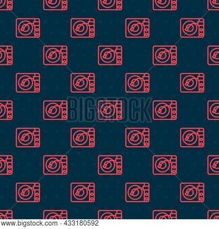 Red Line Vinyl Player With A Vinyl Disk Icon Isolated Seamless Pattern On Black Background. Vector