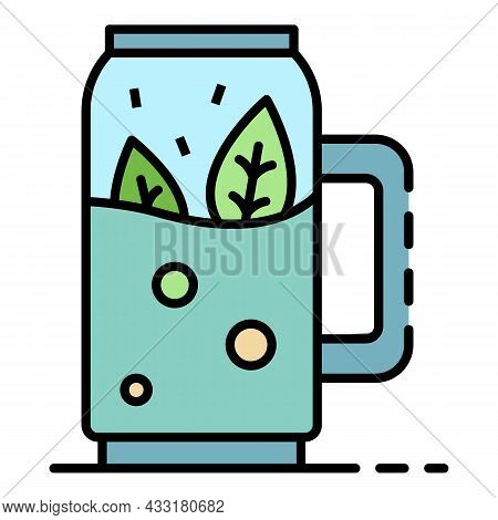Spinach Smoothie Icon. Outline Spinach Smoothie Vector Icon Color Flat Isolated On White