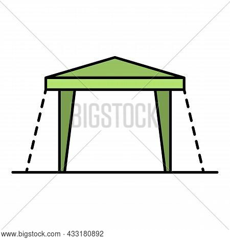 House Tent Icon. Outline House Tent Vector Icon Color Flat Isolated On White