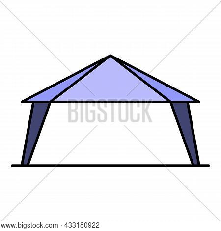 Marketing Tent Icon. Outline Marketing Tent Vector Icon Color Flat Isolated On White