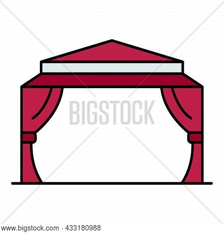 House Garden Tent Icon. Outline House Garden Tent Vector Icon Color Flat Isolated On White
