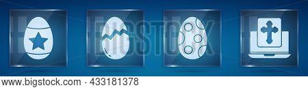 Set Easter Egg, Broken Egg, Easter Egg And Cross On The Laptop Screen. Square Glass Panels. Vector