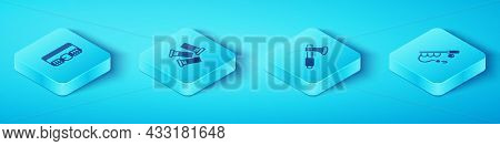 Set Isometric Hunting Cartridge Belt, Cartridges, Fishing Rod And Wooden Axe Icon. Vector