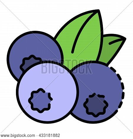 Fresh Blueberry Icon. Outline Fresh Blueberry Vector Icon Color Flat Isolated On White