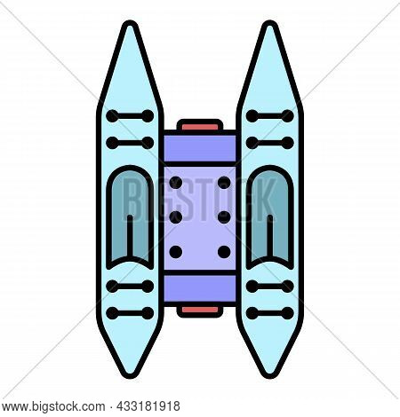 Rafting Boat Icon. Outline Rafting Boat Vector Icon Color Flat Isolated On White