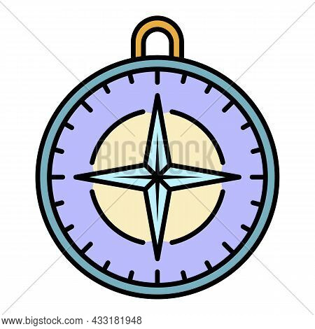 Navigation Compass Icon. Outline Navigation Compass Vector Icon Color Flat Isolated On White