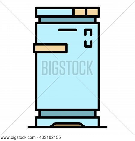 Home Freezer Icon. Outline Home Freezer Vector Icon Color Flat Isolated On White