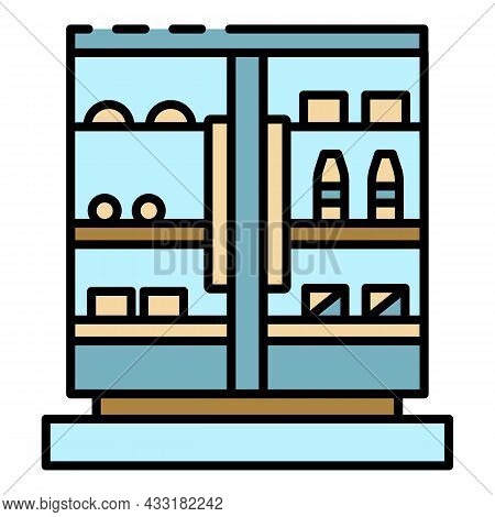 Commercial Drink Freezer Icon. Outline Commercial Drink Freezer Vector Icon Color Flat Isolated On W