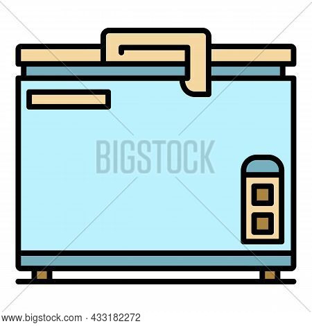 Chest Freezer Icon. Outline Chest Freezer Vector Icon Color Flat Isolated On White