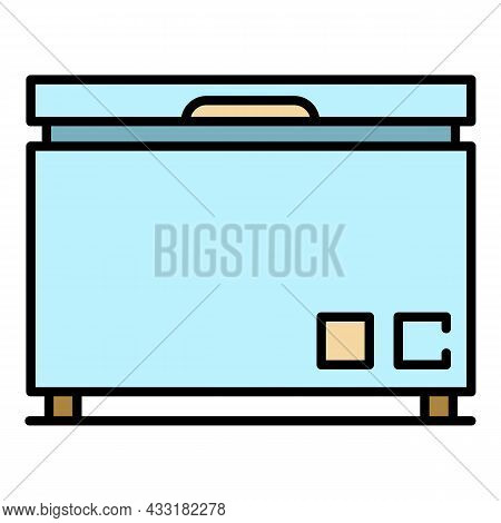 Chest Refrigerator Icon. Outline Chest Refrigerator Vector Icon Color Flat Isolated On White