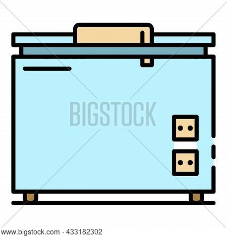 Refrigerator Icon. Outline Refrigerator Vector Icon Color Flat Isolated On White