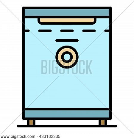 Small Hotel Freezer Icon. Outline Small Hotel Freezer Vector Icon Color Flat Isolated On White