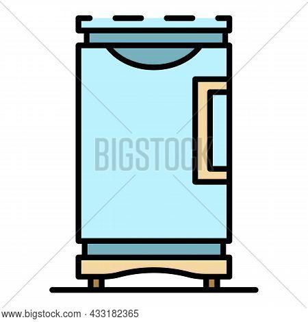Fridge Freezer Icon. Outline Fridge Freezer Vector Icon Color Flat Isolated On White