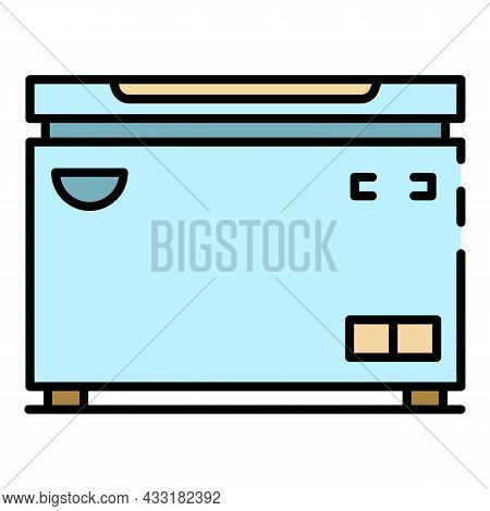Horizontal Freezer Icon. Outline Horizontal Freezer Vector Icon Color Flat Isolated On White