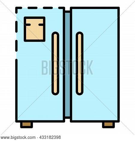 Door Freezer Icon. Outline Door Freezer Vector Icon Color Flat Isolated On White