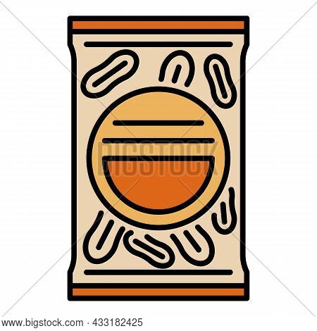 Peanut Package Icon. Outline Peanut Package Vector Icon Color Flat Isolated On White