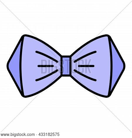 Elegant Bow Tie Icon. Outline Elegant Bow Tie Vector Icon Color Flat Isolated On White