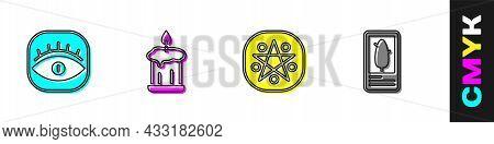 Set Masons, Burning Candle, Pentagram Circle And Tarot Cards Icon. Vector