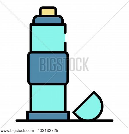 Thermos Warm Bottle Icon. Outline Thermos Warm Bottle Vector Icon Color Flat Isolated On White