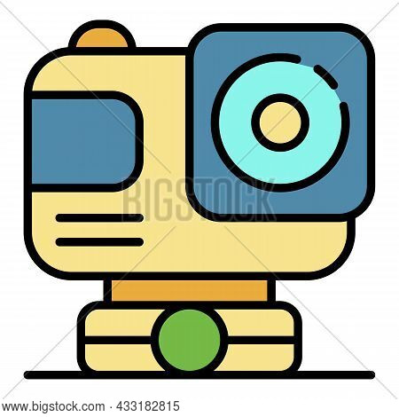 Action Sport Camera Icon. Outline Action Sport Camera Vector Icon Color Flat Isolated On White