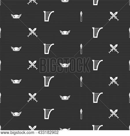 Set Medieval Spear, Crossed Medieval Sword, Helmet With Wings And Harp On Seamless Pattern. Vector
