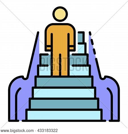 Front Man Escalator Icon. Outline Front Man Escalator Vector Icon Color Flat Isolated On White