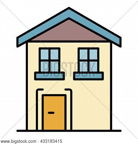 Pension House Icon. Outline Pension House Vector Icon Color Flat Isolated On White