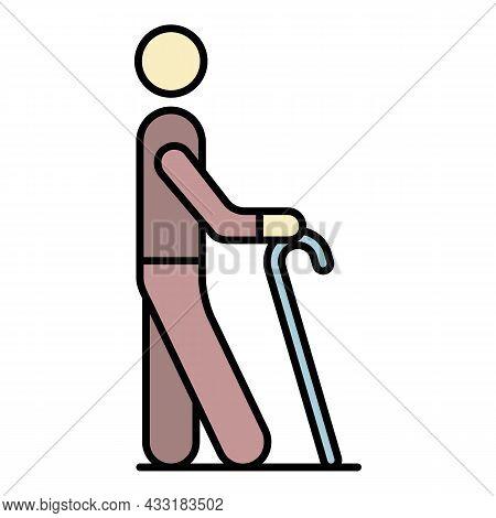 Senior Man Walk Stick Icon. Outline Senior Man Walk Stick Vector Icon Color Flat Isolated On White