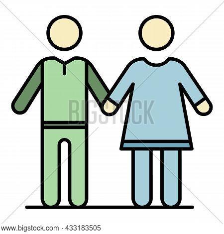 Senior Couple Icon. Outline Senior Couple Vector Icon Color Flat Isolated On White