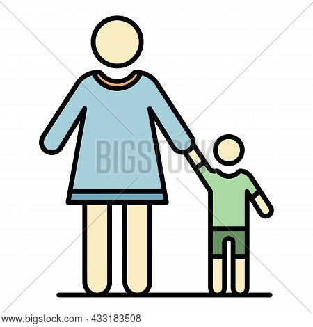Grandmother With Nephew Icon. Outline Grandmother With Nephew Vector Icon Color Flat Isolated On Whi