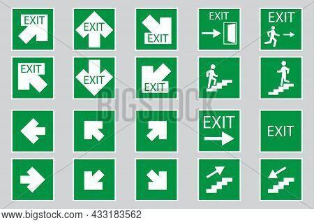 Exit Arrows Signs Set. Evacuation Symbol. Safety Notice. Emergency Background. Vector Illustration.