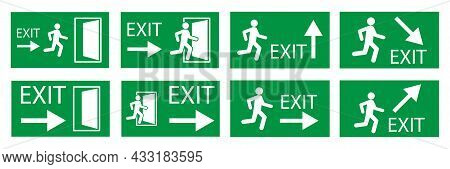 A Lot Of Exit Signs. Evacuation Symbol. Safety Notice. Green Background. White Backdrop. Vector Illu