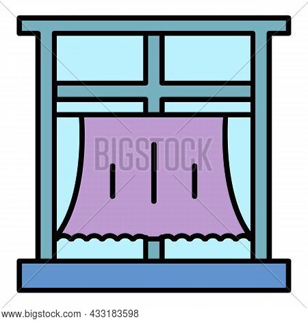 Room Window Curtain Icon. Outline Room Window Curtain Vector Icon Color Flat Isolated On White