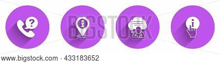 Set Telephone 24 Hours Support, Location With Information, Speech Bubble Chat And Information Icon W