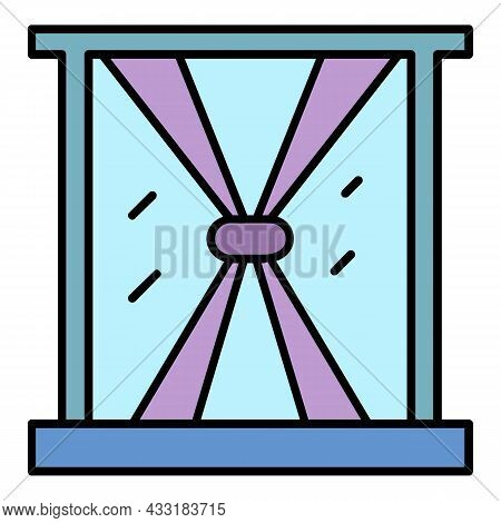 Abstract Window Curtain Icon. Outline Abstract Window Curtain Vector Icon Color Flat Isolated On Whi